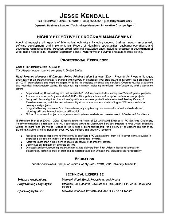 good resume examples personal profiles good sample resumes resume sample information technology manager resume template - Director Of Information Services Resume